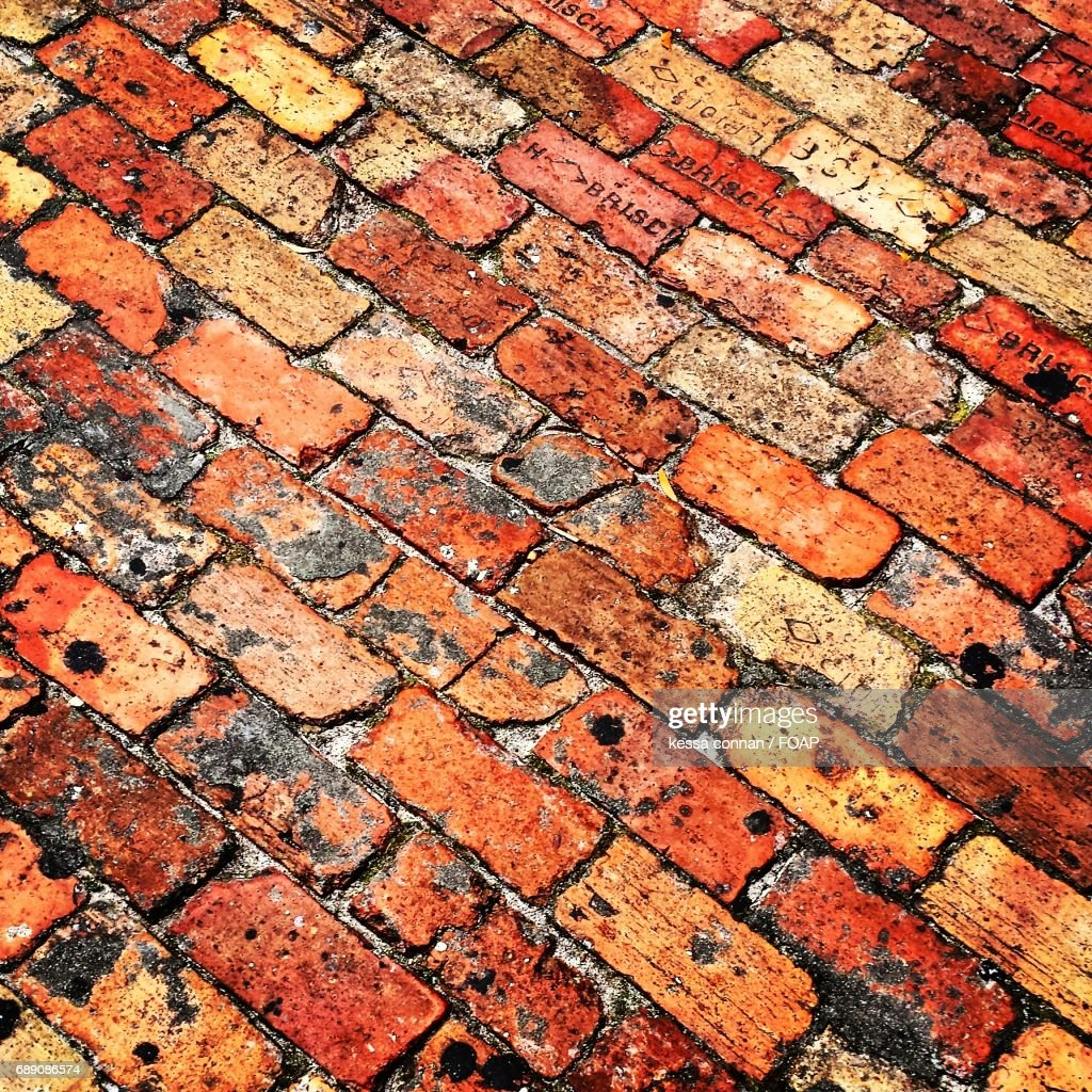 High angle view of brick street : Stock Photo