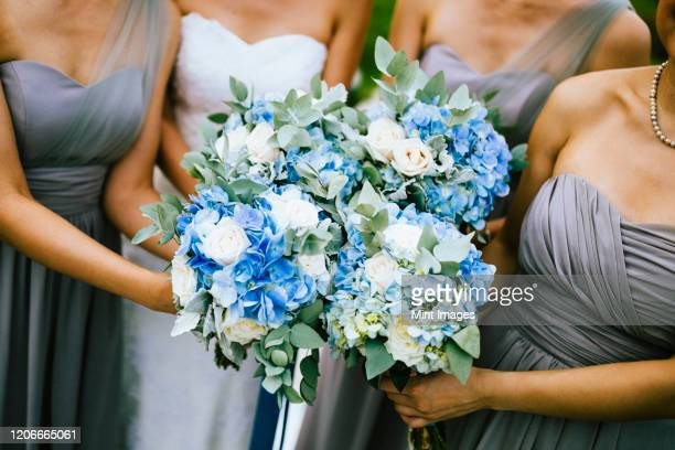high angle view of bride and bridesmaids holding blue and white flower bouquets. - dress stock pictures, royalty-free photos & images