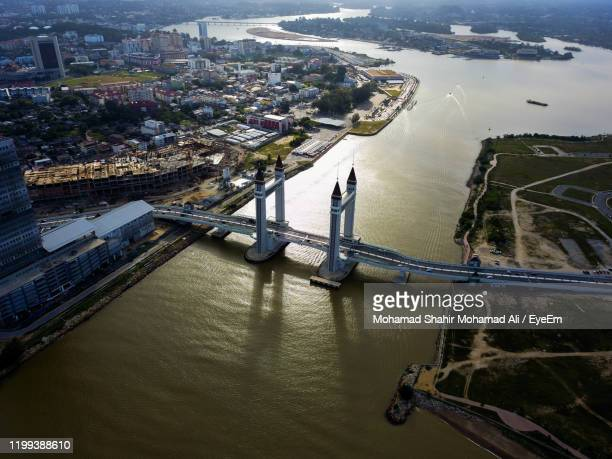 high angle view of bridge over river - terengganu stock pictures, royalty-free photos & images