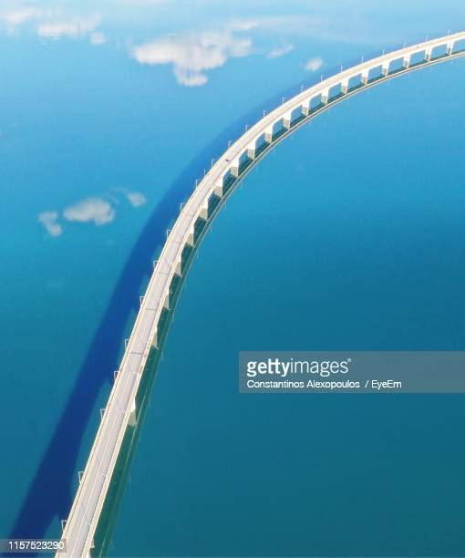 high angle view of bridge over sea - sérvia stock pictures, royalty-free photos & images