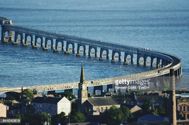 high angle view of bridge over sea - dundee scotland stock pictures, royalty-free photos & images