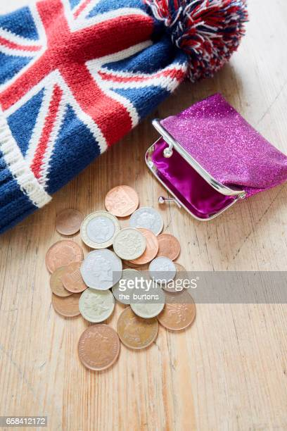 High angle view of British Pound coins with wallet
