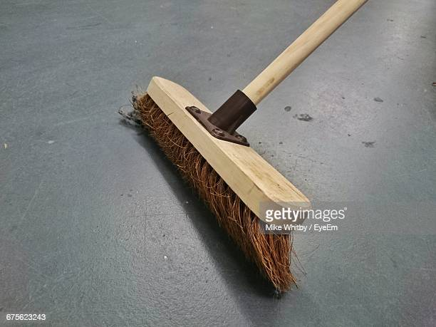 High Angle View Of Broom On Floor