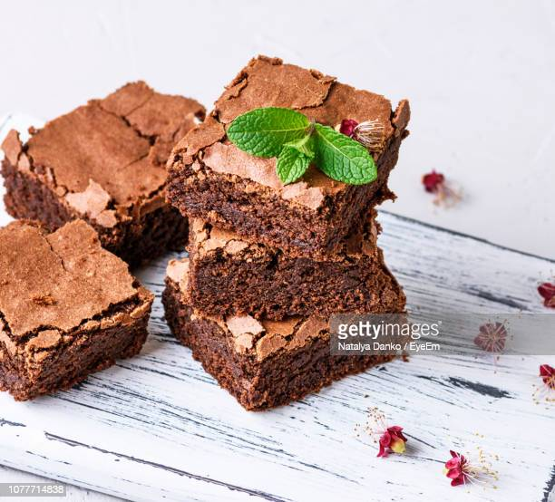 high angle view of brownies on table - brownie stock pictures, royalty-free photos & images