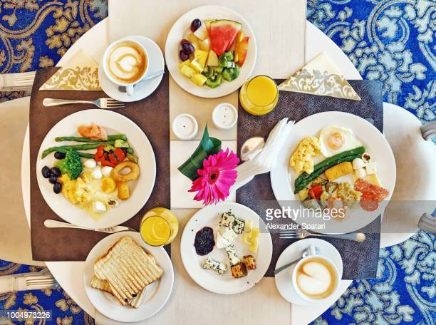 High angle view of brunch at the luxury hotel