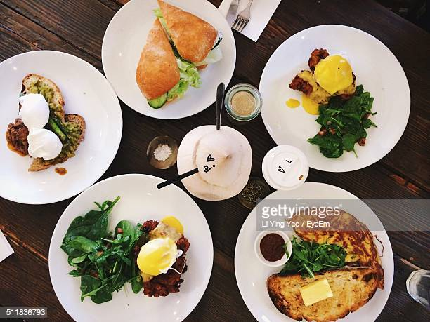 High angle view of brunch served on table