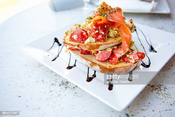 High Angle View Of Bruschetta Served In Plate