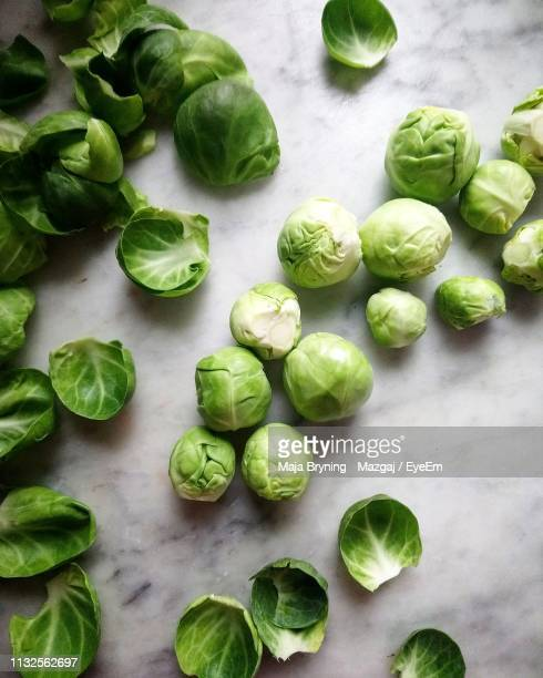 high angle view of brussels sprouts - 芽キャベツ ストックフォトと画像