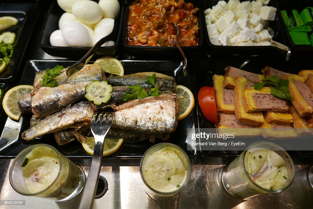 High Angle View Of Buffet On Table Stock Photo | Getty Images