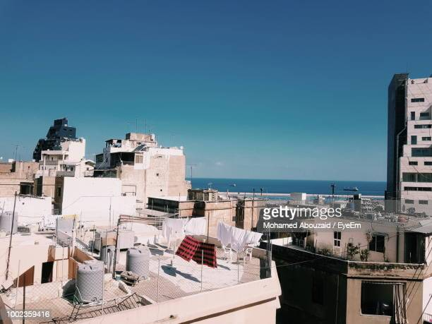 high angle view of buildings against clear blue sky - beirut stock pictures, royalty-free photos & images