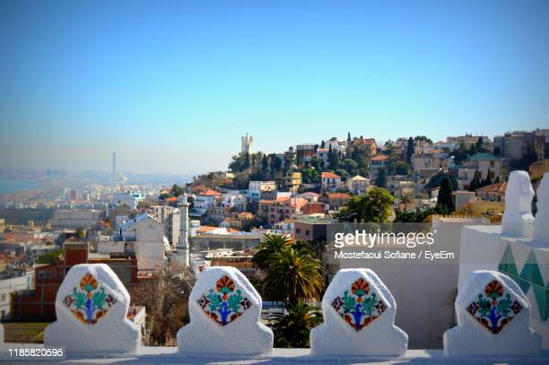 high angle view of buildings against clear blue sky - algiers algeria stock pictures, royalty-free photos & images