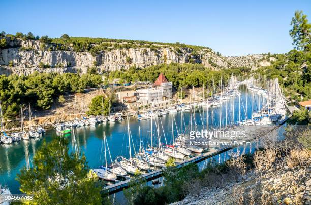 high angle view of buildings against clear blue sky - cassis stock pictures, royalty-free photos & images