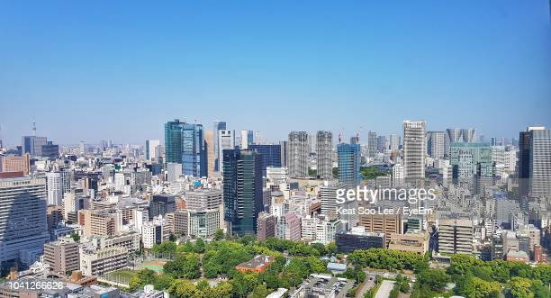 high angle view of buildings against clear sky - 昼間 ストックフォトと画像