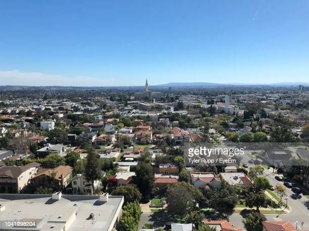 high angle view of buildings against clear sky - westwood neighborhood los angeles stock pictures, royalty-free photos & images