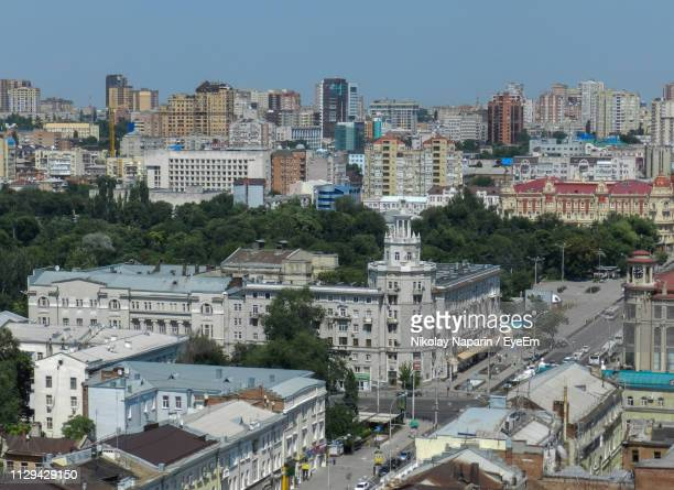 high angle view of buildings against clear sky - rostov on don stock pictures, royalty-free photos & images