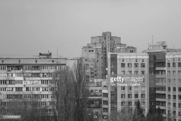 high angle view of buildings against clear sky - kiev stock pictures, royalty-free photos & images