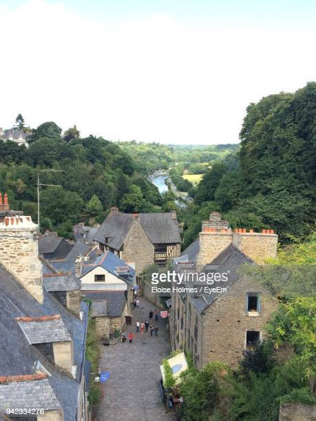 high angle view of buildings against clear sky - cotes d'armor stock photos and pictures