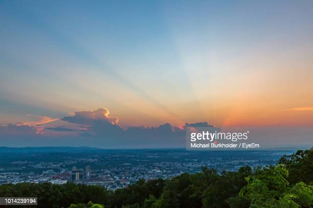 high angle view of buildings against sky during sunset - reading pennsylvania stock pictures, royalty-free photos & images
