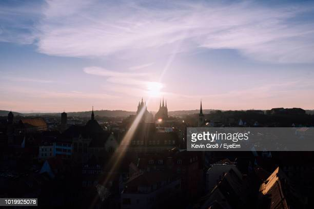 high angle view of buildings against sky during sunset - erfurt stock pictures, royalty-free photos & images