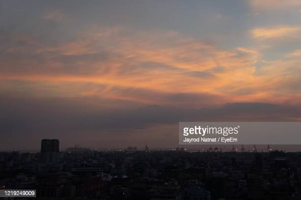 high angle view of buildings against sky during sunset - capital region stock pictures, royalty-free photos & images