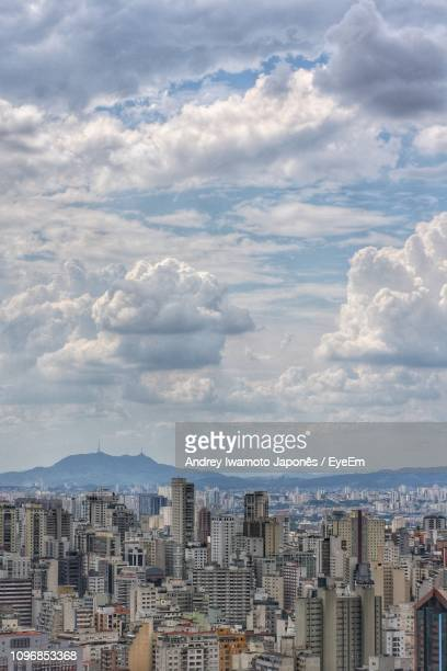 high angle view of buildings against sky in city - japonês stock pictures, royalty-free photos & images