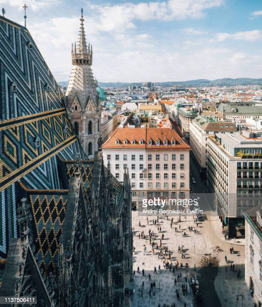 high angle view of buildings against sky - austria stock photos and pictures