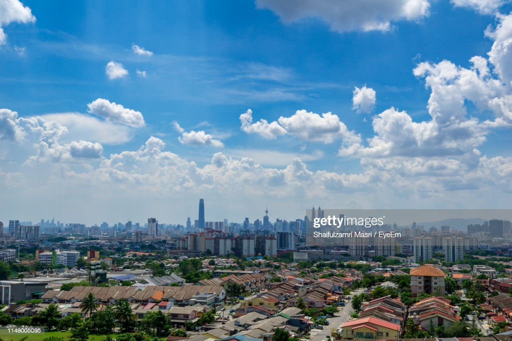 High Angle View Of Buildings Against Sky : Stock Photo