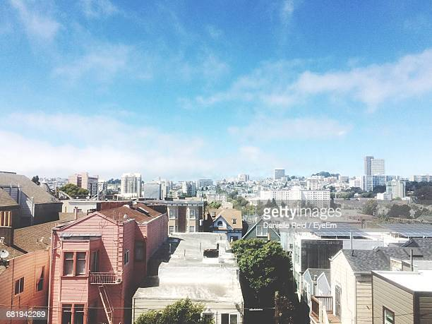 high angle view of buildings against sky - danielle reid stock pictures, royalty-free photos & images