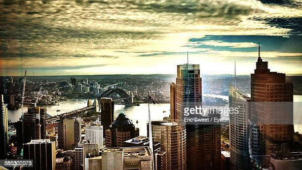 High Angle View Of Buildings And Sydney Harbor Bridge