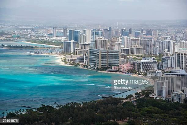 High angle view of buildings at the coast, Diamond Head, Waikiki Beach, Honolulu, Oahu, Hawaii Islands, USA