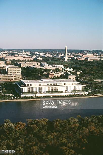 high angle view of buildings beside a river, john f. kennedy center, washington dc, usa - performing arts center stock pictures, royalty-free photos & images