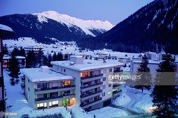 High angle view of buildings covered with snow, Davos, Graubunden Canton, Switzerland