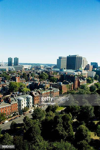 high angle view of buildings in a city, boston, massachusetts, usa - boston common stock pictures, royalty-free photos & images