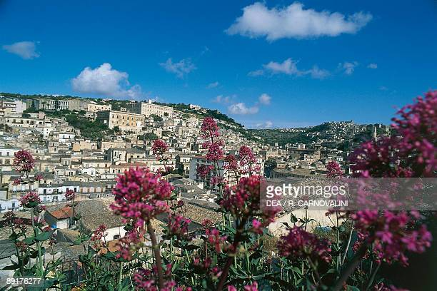 High angle view of buildings in a city Modica Sicily Italy