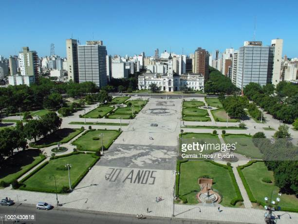 high angle view of buildings in city against sky - la plata argentina stock pictures, royalty-free photos & images