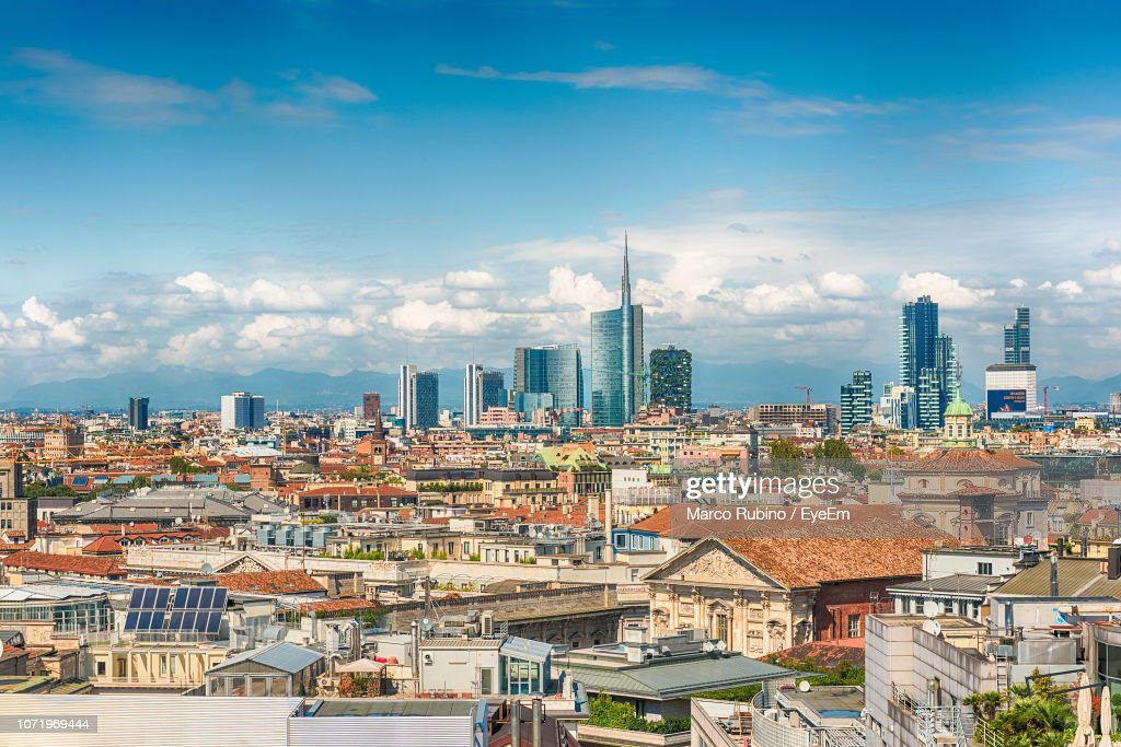 High Angle View Of Buildings In City Against Sky : Stock-Foto
