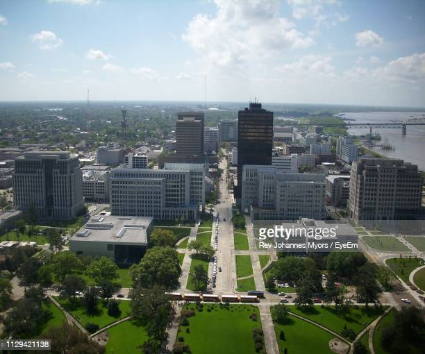 high angle view of buildings in city against sky - baton rouge stock pictures, royalty-free photos & images