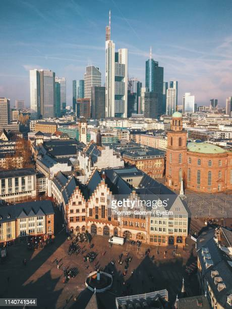 high angle view of buildings in city against sky - frankfurt main tower stock pictures, royalty-free photos & images