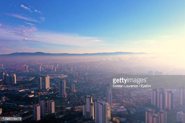 high angle view of buildings in city against sky - south america stock pictures, royalty-free photos & images