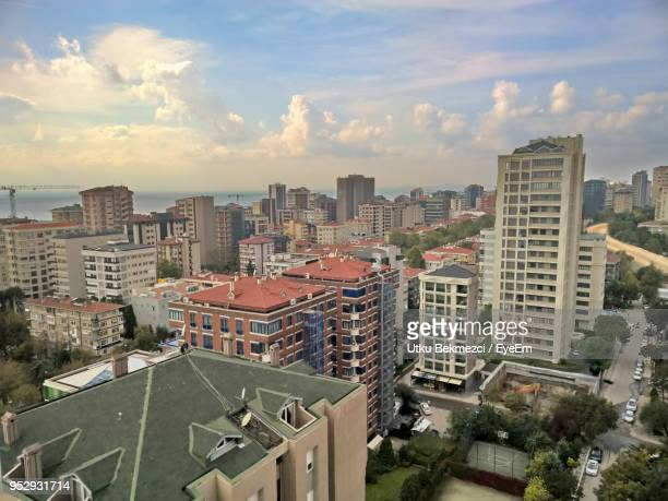 high angle view of buildings in city against sky - contemporary istanbul foto e immagini stock