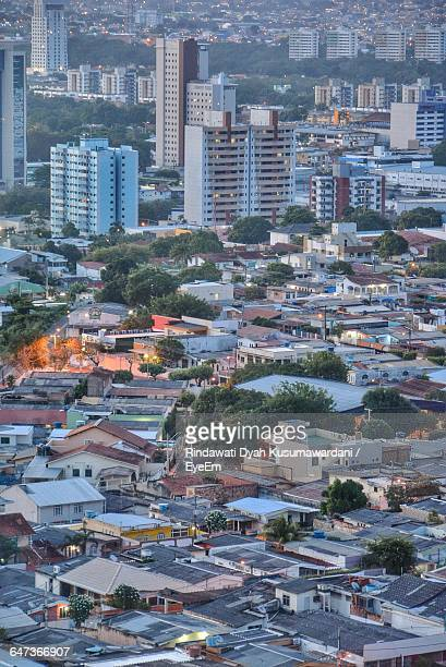 high angle view of buildings in city at dusk - マナウス ストックフォトと画像