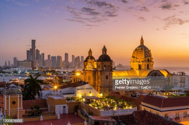 high angle view of buildings in city at sunset cartagena - colombia foto e immagini stock