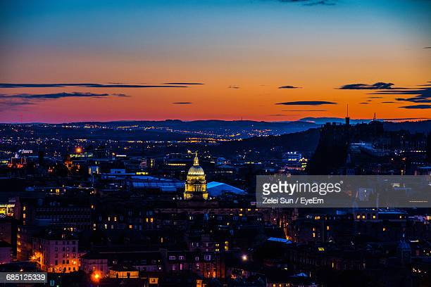 high angle view of buildings in city at sunset - edinburgh stock pictures, royalty-free photos & images