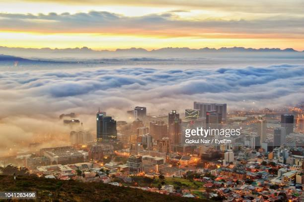 high angle view of buildings in city during sunset - cape town stock pictures, royalty-free photos & images