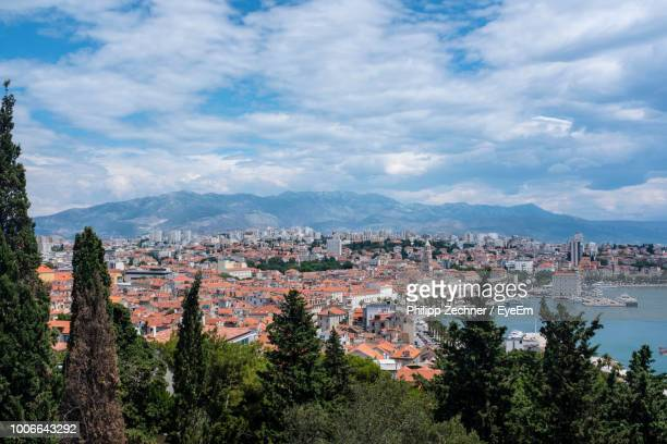 high angle view of buildings in city - rijeka stock pictures, royalty-free photos & images