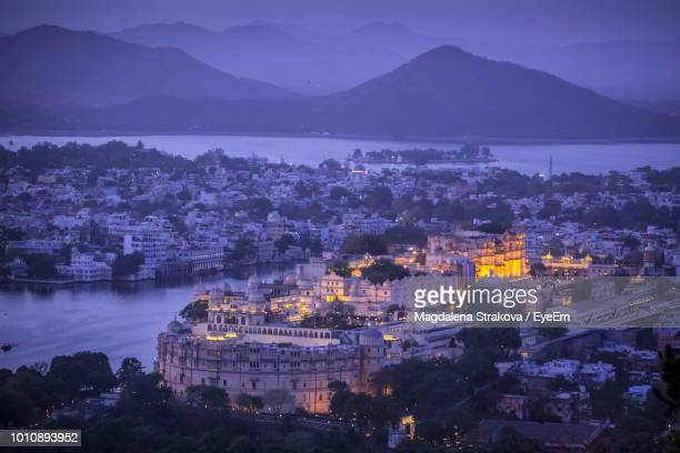 high angle view of buildings in city - udaipur stock pictures, royalty-free photos & images