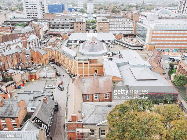 high angle view of buildings in city - coventry stock pictures, royalty-free photos & images