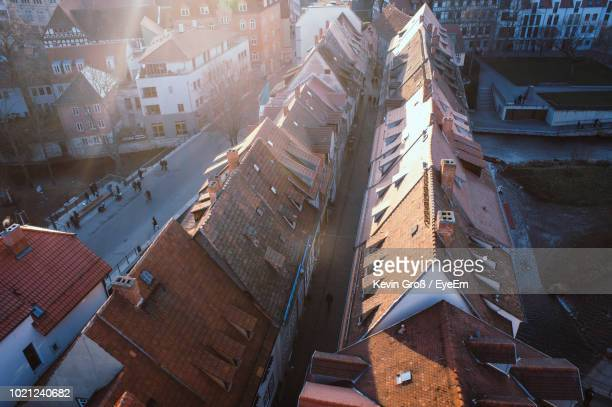 high angle view of buildings in city - erfurt stock pictures, royalty-free photos & images
