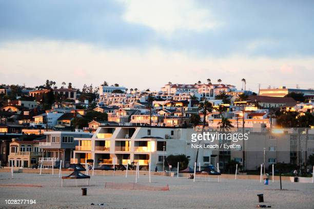 high angle view of buildings in city - hermosa beach stock pictures, royalty-free photos & images