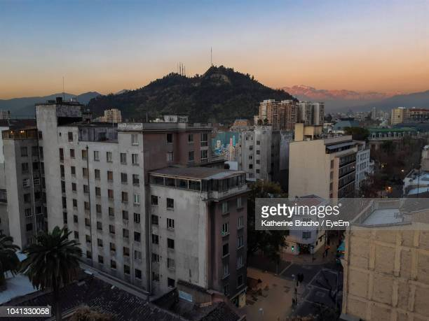 high angle view of buildings in city - santiago chile stock pictures, royalty-free photos & images